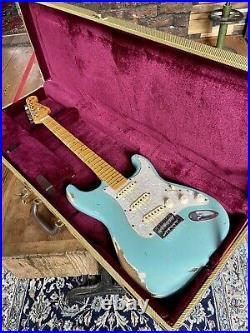 Custom Relic Fender Strat / PartsCaster, Flamed Mpl Neck Daphne Blue Pro Set Up