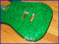 MIGHTY MITE BODY FITS FENDER STRATOCASTER 2 3/16th GUITAR NECK GREEN QUILT TOP